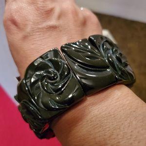 Cookie Lee Carved Jet Rosetta Bracelet